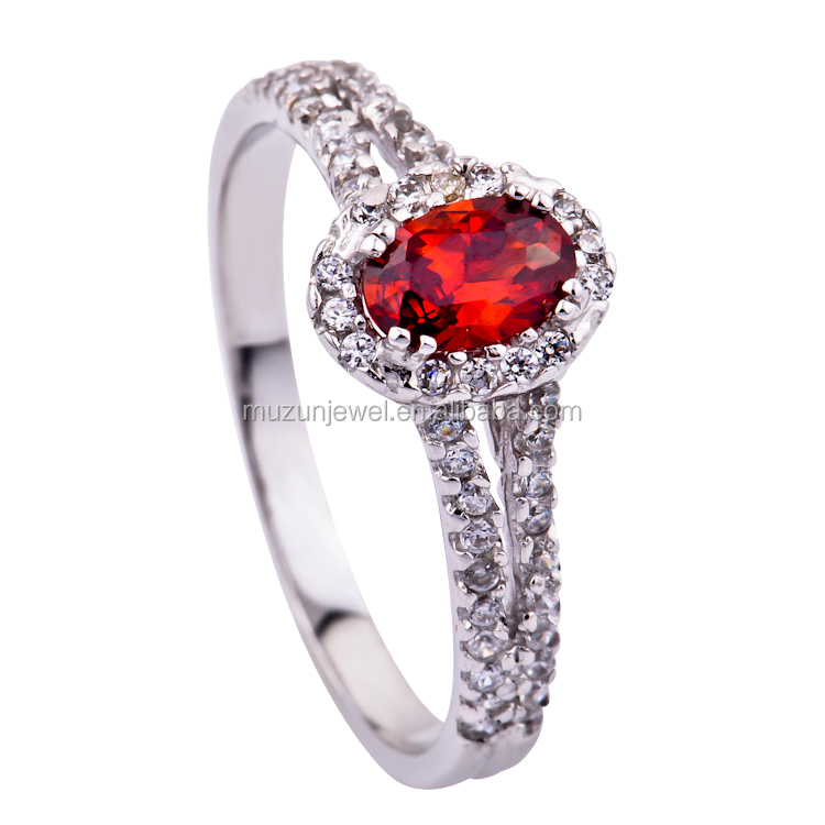 Fashion jewelry ring wholesale 925 sterling silver red ruby ring