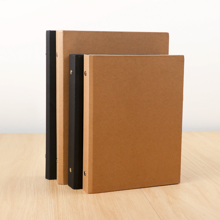 Custom good quality A4 A5 B5 size and printing kraft paper file folder 6 ring binder
