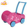 Wholesale high quality wooden pink walker used for toddler learning walk W13C010