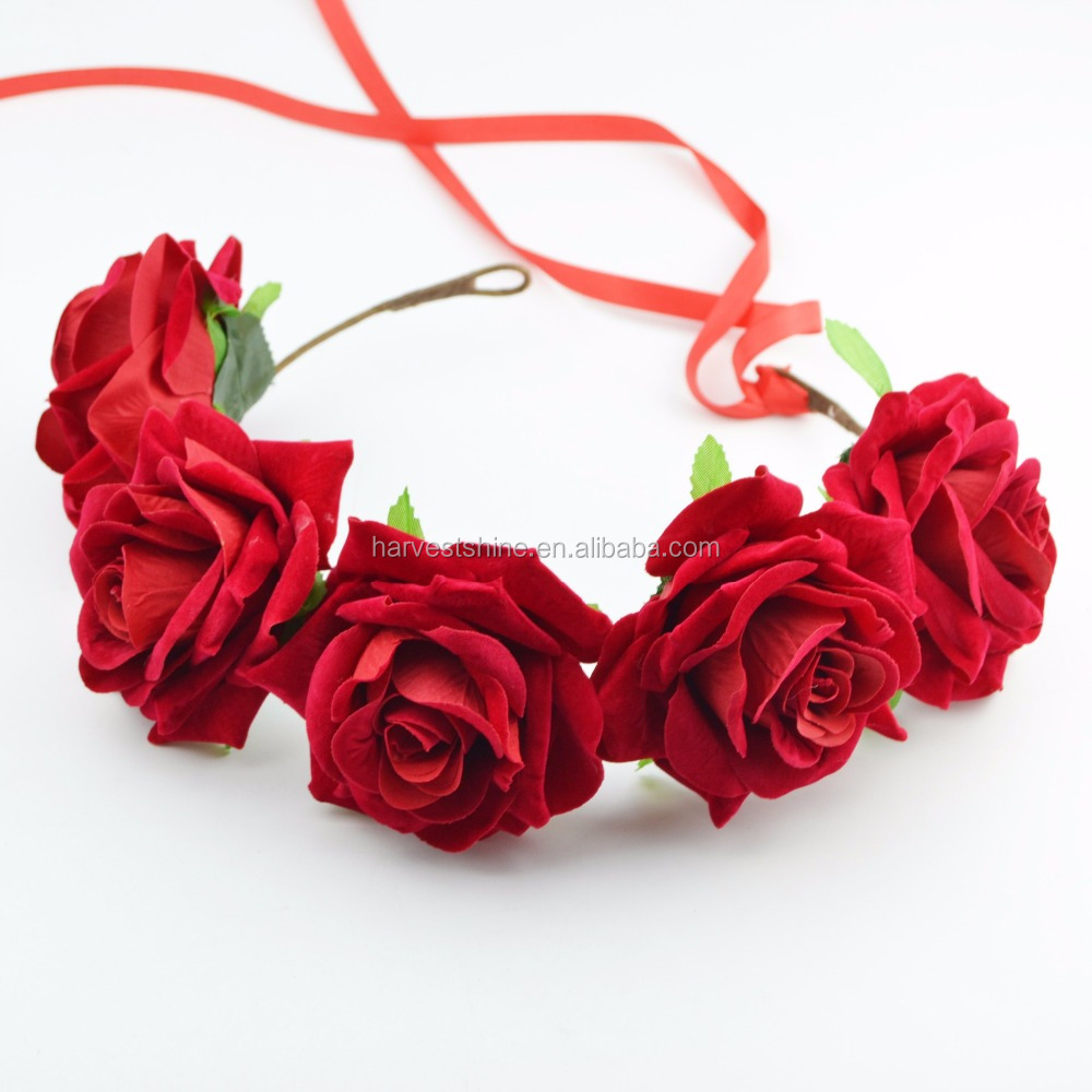 Wholesale red rose artificial flower crown,wedding floral hairband