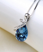 supplier Platinum Plated necklace artificial Aquamarine necklace gift Brass necklace