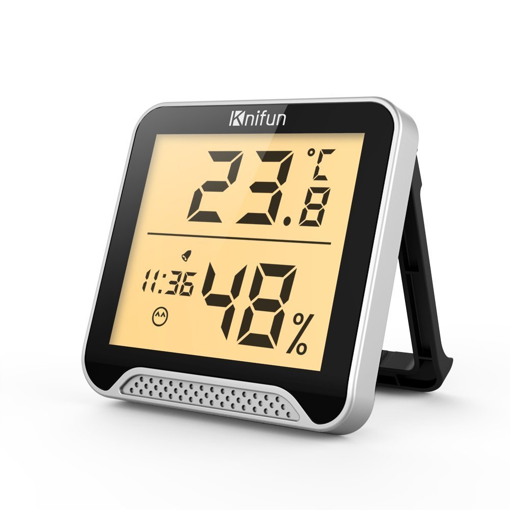 Get Quotations Knifun Indoor Thermometer Hygrometer Clock Temperature Humidity Monitor With Gauge Meter And Backlight