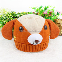 Wholesale factory custom 2015 new fashion knit animal shape dog beanie hat for baby