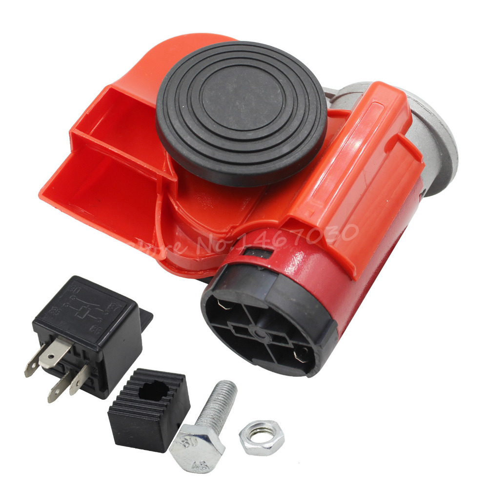 RED Black Twin TRUMPET SNAIL High//Low Tone 12v Volt Electromagnetic Loud Dual Replacement HORN Compact Complete Universal Kit with Brackets Relay Hardware for Dodge Challenger Charger Dakota Durango Caravan Ram 1500 2500 3500 Jeep Wrangler Renegade CJ5 CJ7