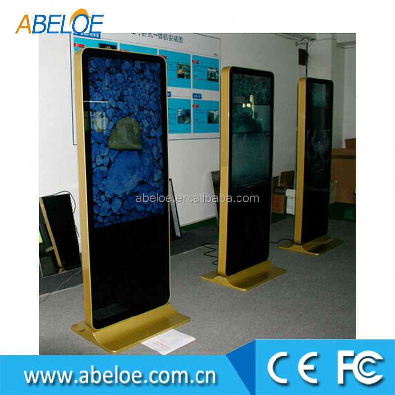 "50"" inch floor standing lcd , screen touch digital signage , 3 touch screens android full 1080p media player"