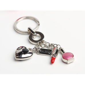 Fashion Accessories Creative Zinc Alloy Lipstick And Nail Polish Mirror Shape Keychain