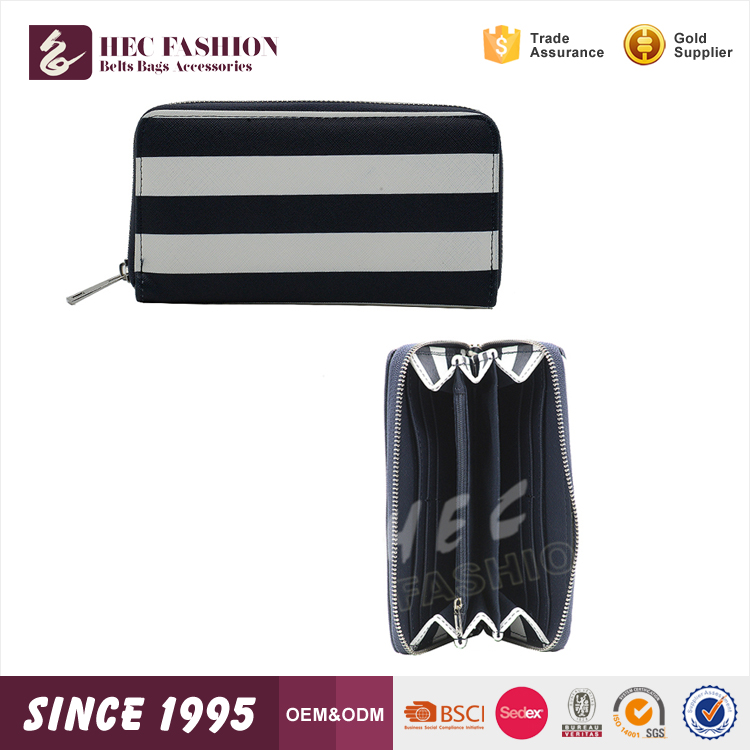 HEC Super September Chinese Good Quality Black White Color Stripe Ladies Woman Leather Purse Wallet
