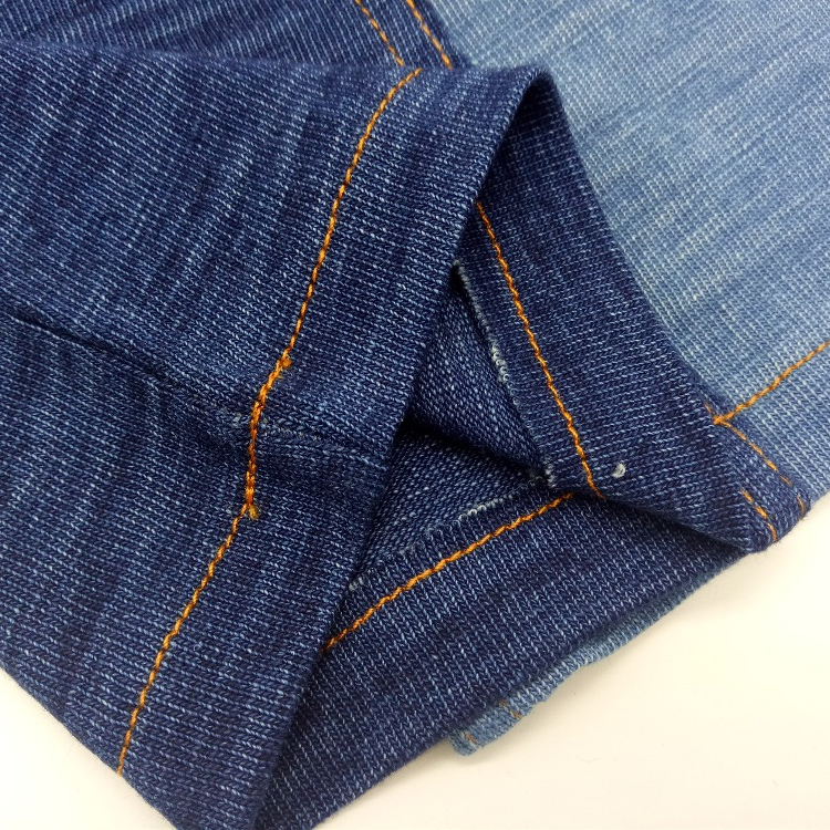 Wholesale Cotton ROPE DYE SLUB INDIGO DENIM JERSEY