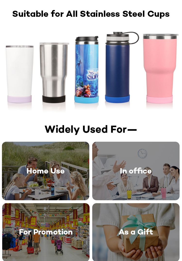 Bottle Bottom Protection Sleeve Round Silicone Protective Cover for 30 oz 20 oz Stainless Steel Tumbler