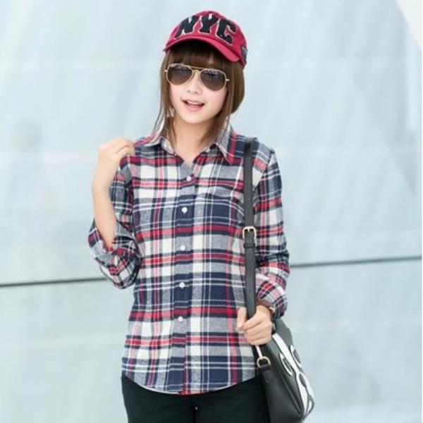 2014 onlin de moda para mujer camisas de cuadros-Mujeres Blusas y ... ab8c72a8d05d