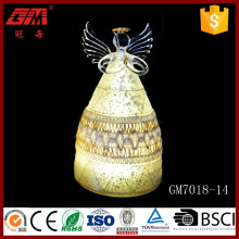 New idea handworked led glass angel figurines ornaments for decoration