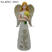 Wholesale Handmade 16cm Large Size Polyresin Lady Angelsl Figurine with Wings