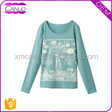 Fashion New Model Casual Long Sleeve T shirts Design OEM Customized Print