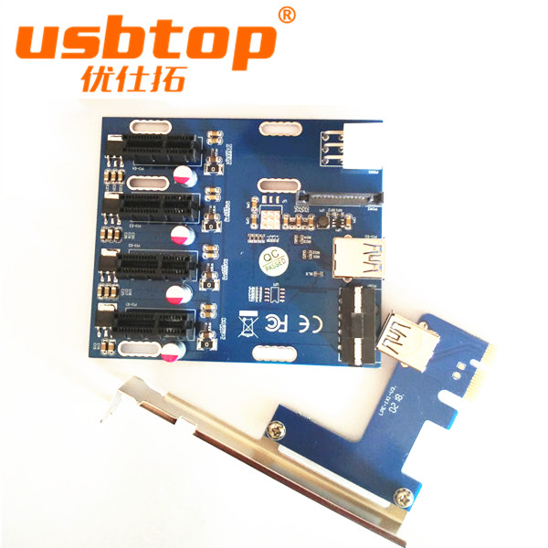 USBTOP BRAND 4 in160cm PCI-E PCIe PCI Express 1x to 16x Riser USB 3.0 Extender Cable
