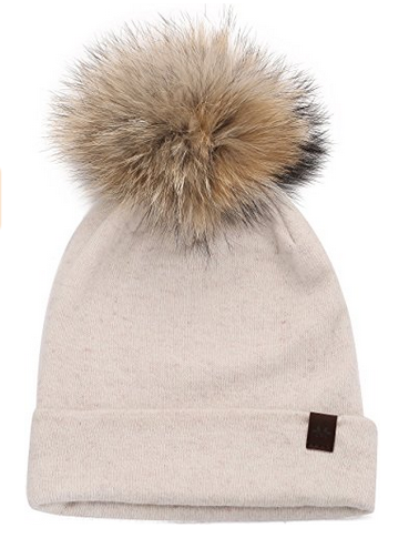Knit Pom Beanie Winter Hat Cashmere Womens Knit Hats for Winter with  Snap-On Rabbit Fur Pompom 5977dffa005