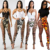 FM-Q1006 Multicolored Sexy Women Camouflage High Waist Hollow Out Pencil Pants Bandage Slim Tight  Trousers