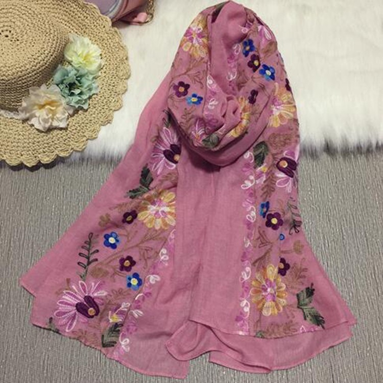 Fashion new arrival best selling popular knitting 100 viscose women floral wide Cotton scarf lady Embrodiery scarf