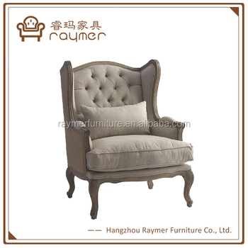 Berger French Country Linen On Tufted Wing Back Arm Chair