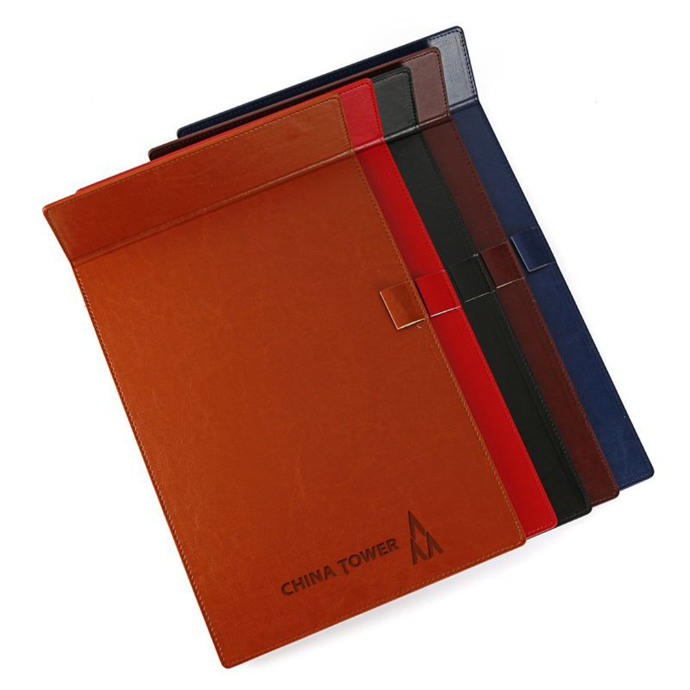 Office meeting conference a4 PU leather folding magnetic clipboard writing clipboard with pen holder