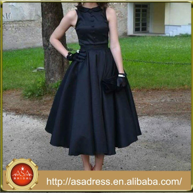SPD41Elegant Sleeveless Black Prom Ball Gown Dresses Mid-Calf Length Vestidos de Gala