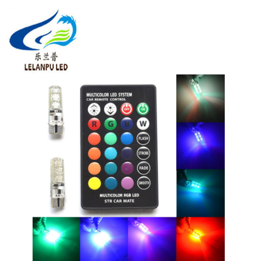 T10 5050 6smd silicone with Remote Controller 194 LED Bulb Wireless t10 rgb 16-Colors change t10 rgb led car light