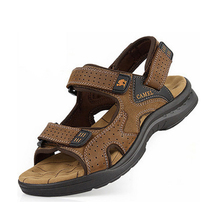 New 2014 Camel mens sandals slippers genuine leather cowhide sandals outdoor casual men summer leather shoes for men