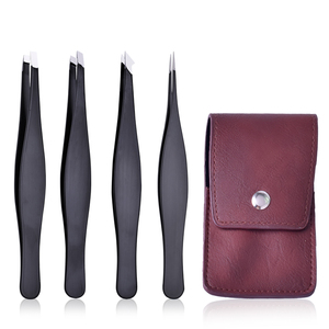 Amazon hot selling stainless steel eyebrow tweezers set slanted pointed tip good eyebrow tweezers in travel storage pouch