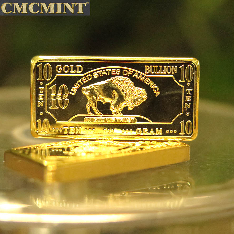 Hoge Kwaliteit Wholesale 10 Gram .100 Mils Vergulde Buffalo Bar Custom Coin