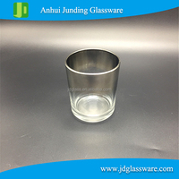 Custom printing silver color Crystal cheap birthday decoration glass wine bottle tealight candle holder candle jars wholesale