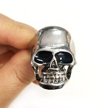 Schmuck Creepy Gothic Ring Schädel <span class=keywords><strong>Silber</strong></span> Mode Carving Schädel Ring Für Mann