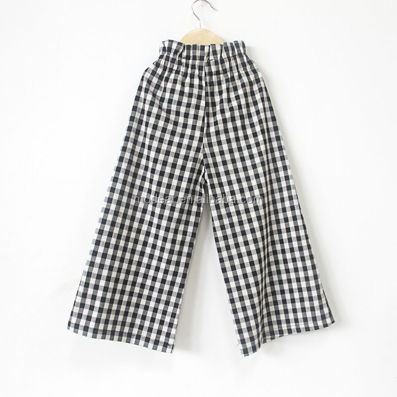 Casual trousers girls autumn outfit trellis print fabric broad leg baby pants