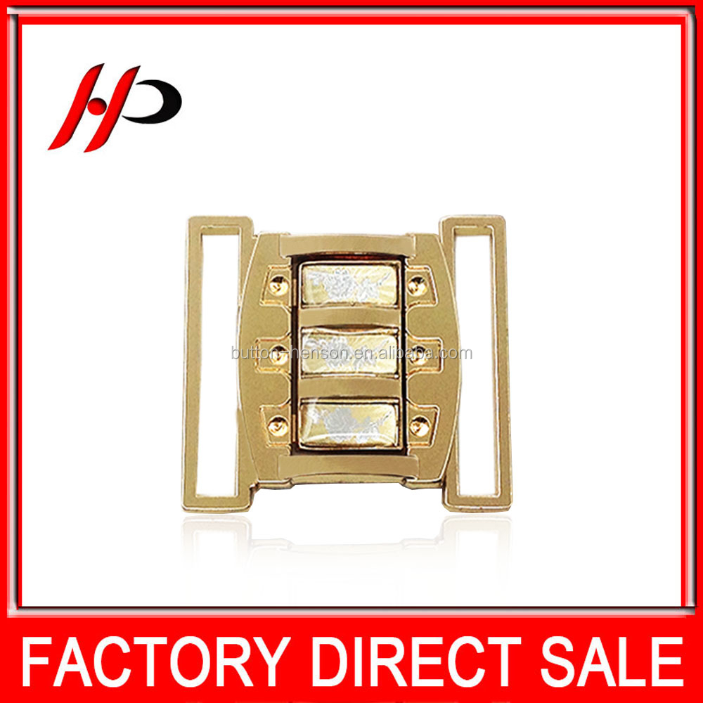 Manufacture wholesale custom gold plating metal belt buckle with laser logo for women down jacket
