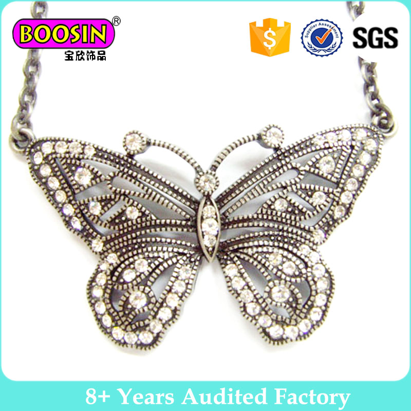 25mm Victorian Puff Scalloped Antique Silver Filigree Butterfly Pendant