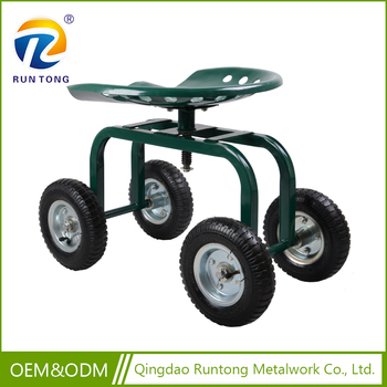 Hot Sell Low Price Farmer Mini Green 4 Pneumatized Wheel Garden Tool Seat  Cart