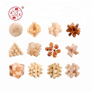 ICTI factory Intelligence 3D wooden brain teaser puzzle toys funny cube iq game iq toy 3d puzzle ball for adult