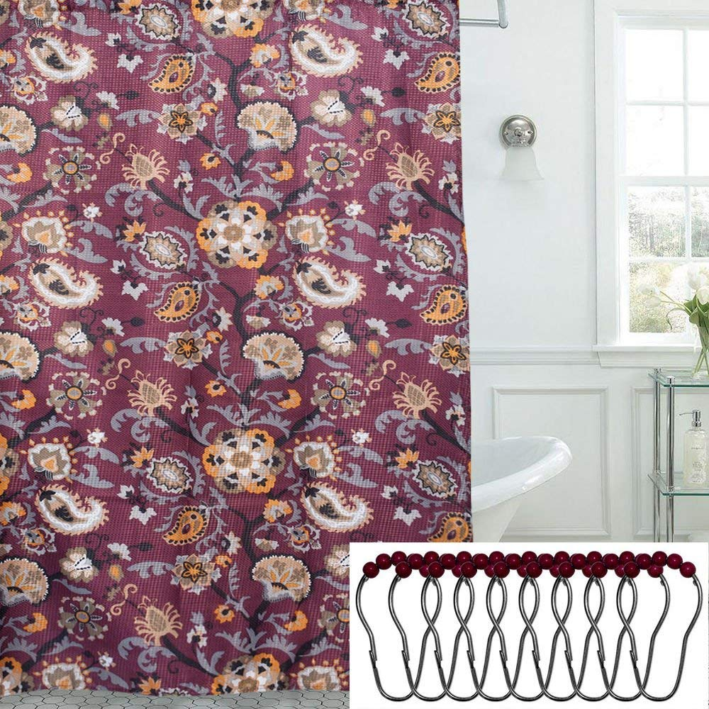 Get Quotations TAKESHOWER Floral Paisley Print 13 Piece 70 X 72 Shower Curtain And Roller Hooks Set