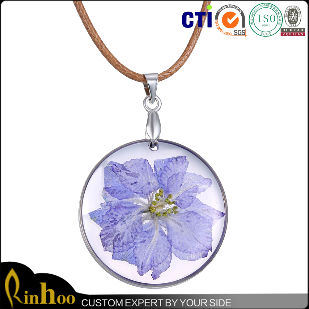 <strong>Fashion</strong> New Design Real Dried Purple Flower Crystal Floating Charm Locket Pendant Necklace
