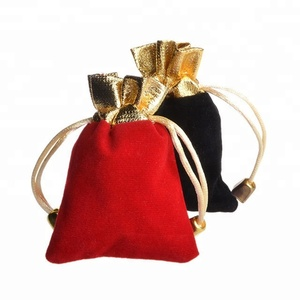 Red Black Jewelry Pouches Velvet Gift Bags Wedding Favors Ring Bracelet Pendant Necklace Storage Drawstring Bag