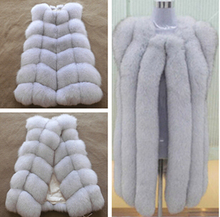 Russian Style Fur Winter real natural Fox fur vest real fur fabric gird design vest