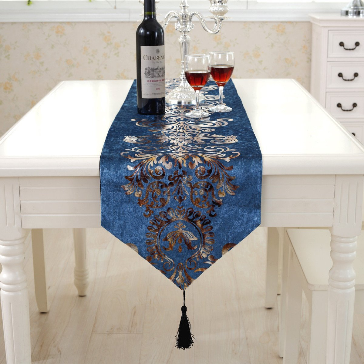 Get Quotations · Baby Blue Modern Gold Floral Hemstitch Tapestry Western  Table Runner 90 Inch Approx Velvet Fabic For
