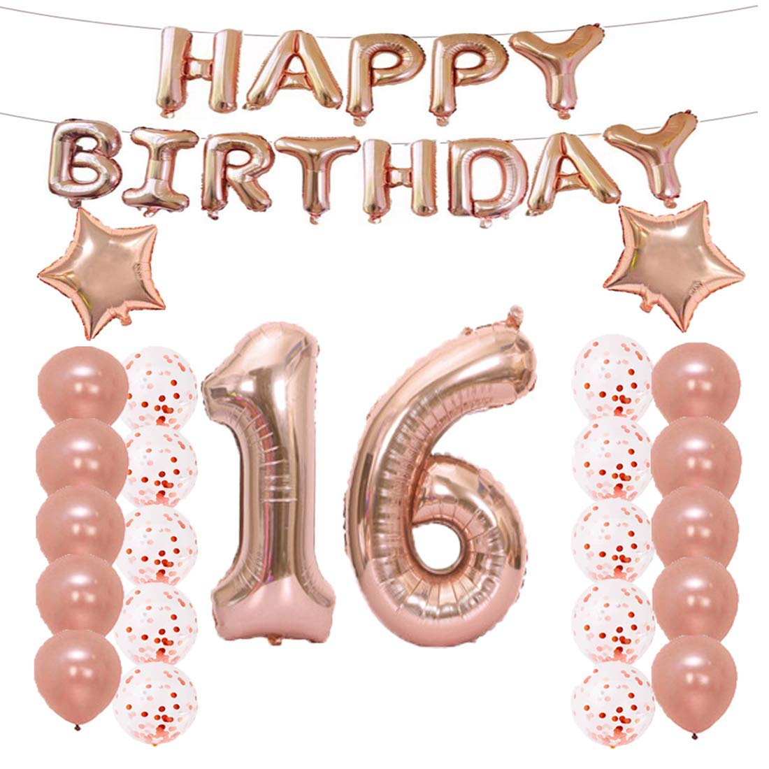 LQQDD 16th Birthday Decorations Party Supplies16th Balloons Rose GoldNumber 16 Mylar