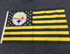 American flag with NFL team logo for Pittsburgh Steelers