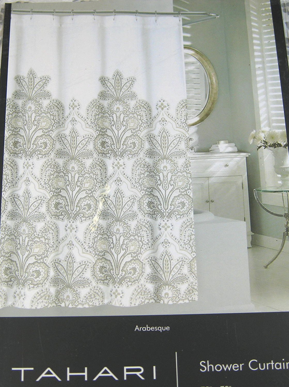 "Tahari Home Paisley Floral Shower Curtain Arabesque Lt. Taupe,Gray on White 72"" x &2"""