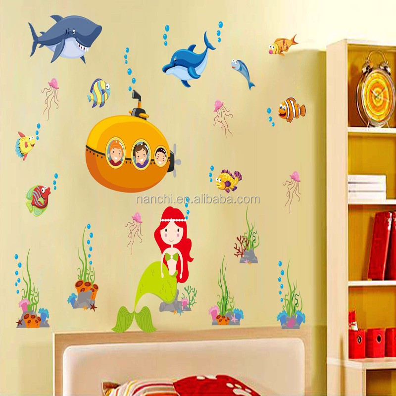 Creative Animals Happy Live Under The Sea Wall Stickers Home Bedroom ...