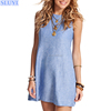 xxl size summer latest casual dress designs for beach party ladies sleeveless caribe sugar shift cotton linen dresses women