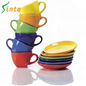 Funny rainbow glaze colored 12pcs ceramic coffee cup and saucer for party