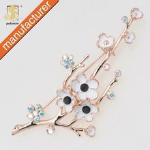 Liga de ouro strass flor de ameixa flor broche broche de flores cachecol jóias vestuário