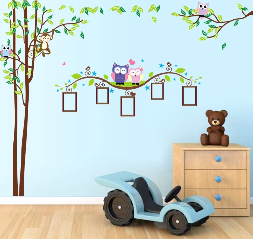 Nursery Wall Decals XL, Nursery Tree, Owl, Monkey, Picture Frame Wall Decals XL, Nursery Owls Wall Decor, Kids Room Wall Decals
