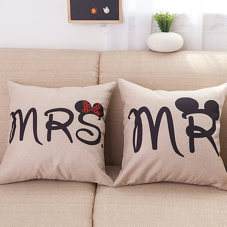 MRS and MR Cotton Linen  Body Pillow Cover Anime Pillowcase Lovers Hugging Pillow Cases Soft Cozy Home Decorative  SD8