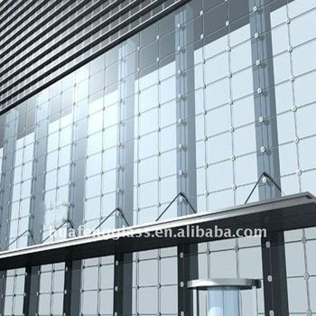 Blue green bronze residential glass curtain wall for hotel for Residential window walls